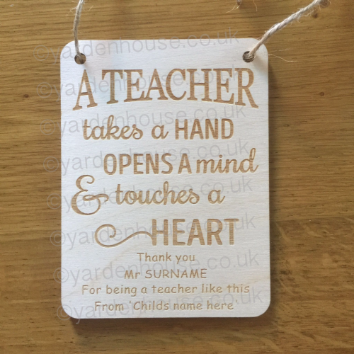 Personalised Teacher Plaque 'A Teacher takes a hand...', 11cm x 15cm (3mm Birch)